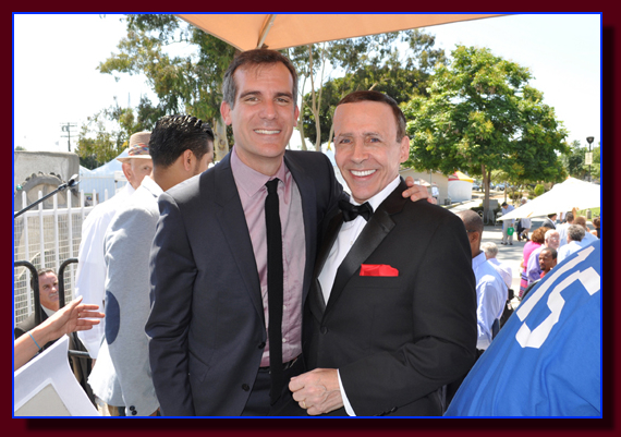 Los Angeles Mayor Eric Garcetti and Monty Aidem
