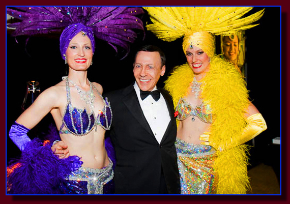 The Frank Sinatra impersonator with Las Vegas showgirls